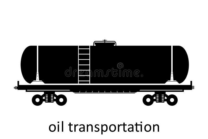 spoorwegvervoer van olievervoer met naam Ladingsvracht die Vervoer door:sturen Vector Geïsoleerd illustratie Zijaanzicht vector illustratie