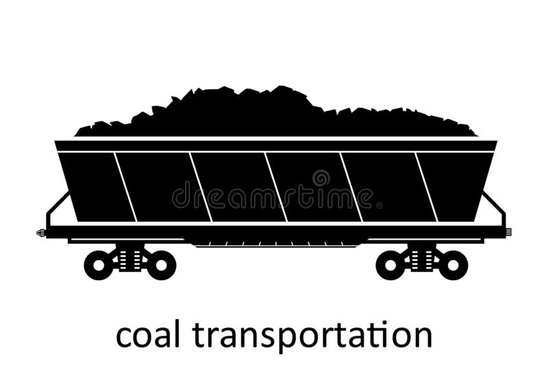 spoorwegvervoer van steenkoolvervoer met naam Ladingsvracht die Vervoer door:sturen Vector Geïsoleerd illustratie Zijaanzicht royalty-vrije illustratie