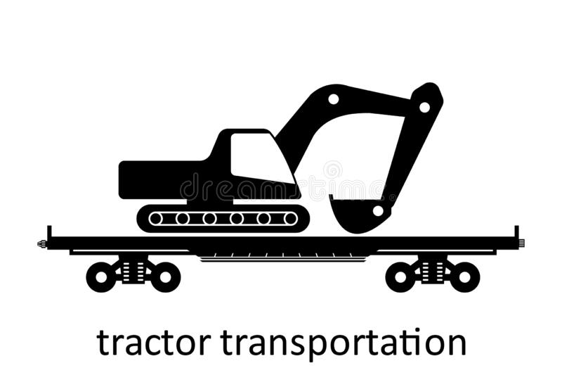 spoorwegvervoer van technieken met naam Ladingsvracht die Vervoer door:sturen Vector Geïsoleerd illustratie Zijaanzicht vector illustratie