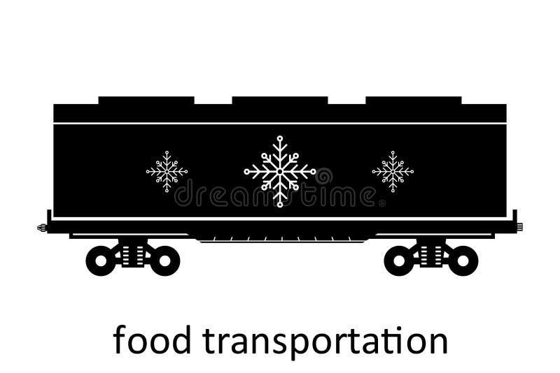 spoorwegvervoer van voedselvervoer met naam Ladingsvracht die Vervoer door:sturen Vector Geïsoleerd illustratie Zijaanzicht royalty-vrije illustratie