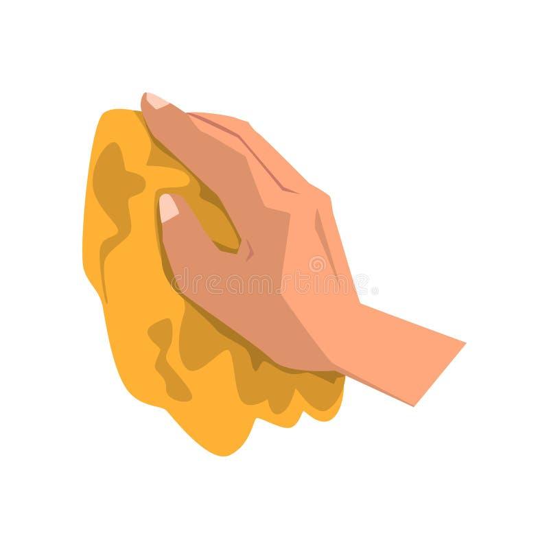 Sporcizia pulita della mano umana con lo straccio giallo Tema di governo della casa Elemento per la pubblicità manifesto o dell'i illustrazione di stock