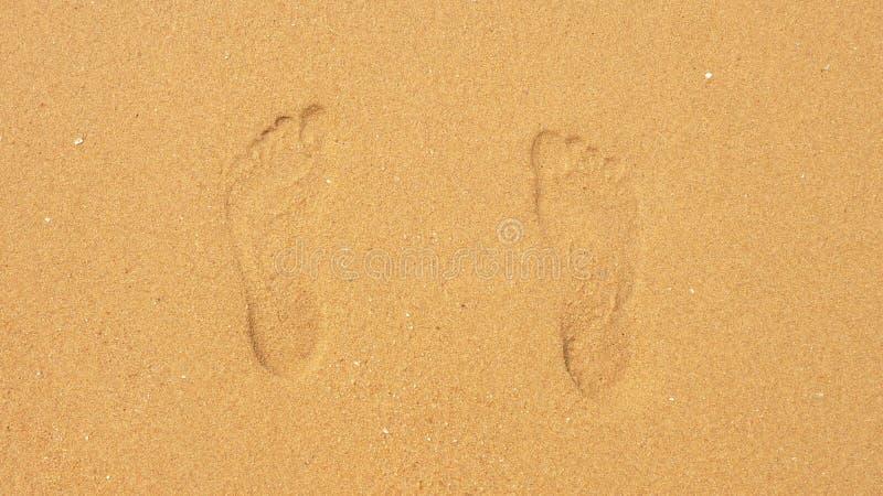 Sporen op het zand die onder de overzeese golven verdwijnen stock fotografie