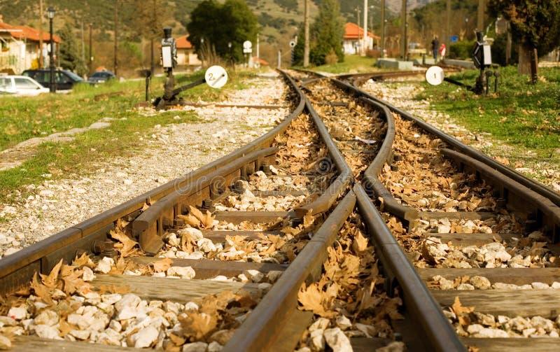 Sporen van beroemde spoorweg diakofto-Kalavrita royalty-vrije stock fotografie