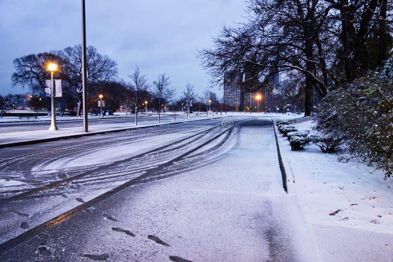 Sporen in Verse Sneeuw, Chicago Illinois, de V.S. royalty-vrije stock foto