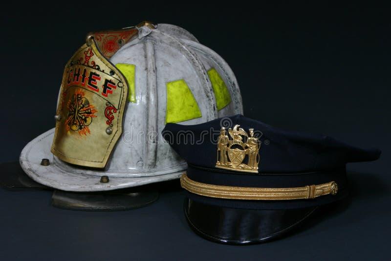 Sporgenze della polizia e del fuoco fotografia stock