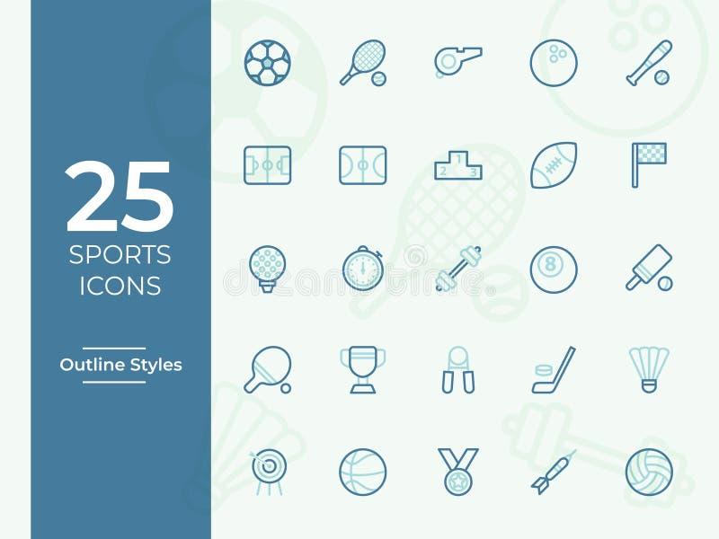 25 sportów ikona, sporta symbol Nowożytny, prosty kontur, kontur wektorowe ikony dla strony internetowej lub wiszącej ozdoby app, royalty ilustracja