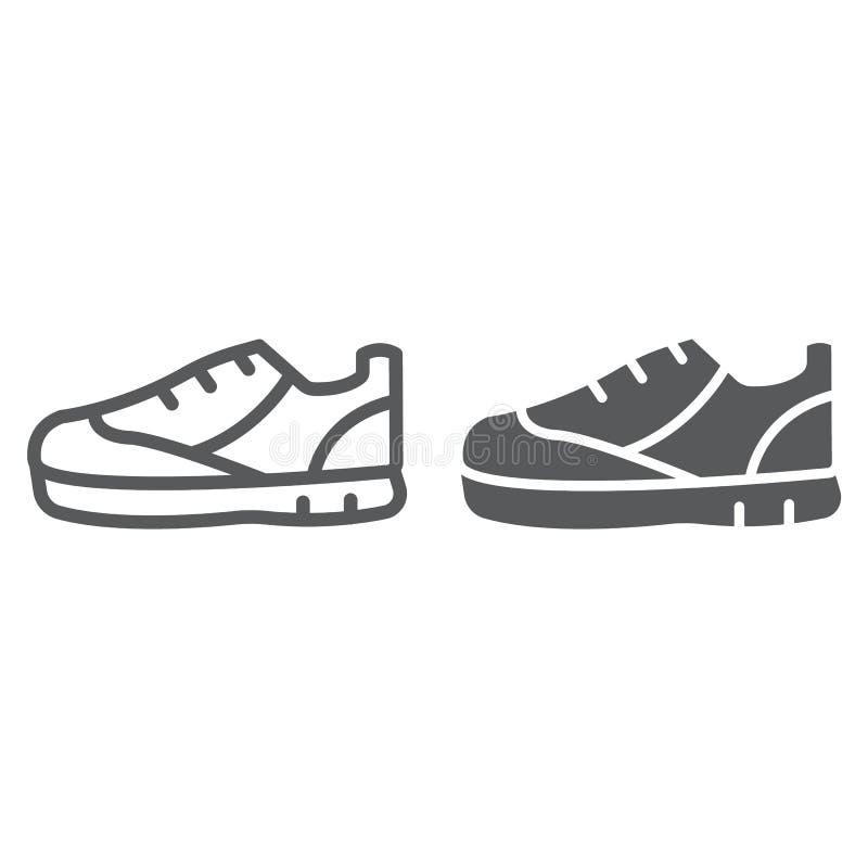 Sportów butów linia, glif ikona, obuwie i but, tenisówka podpisujemy, wektorowe grafika, liniowy wzór na bielu ilustracja wektor