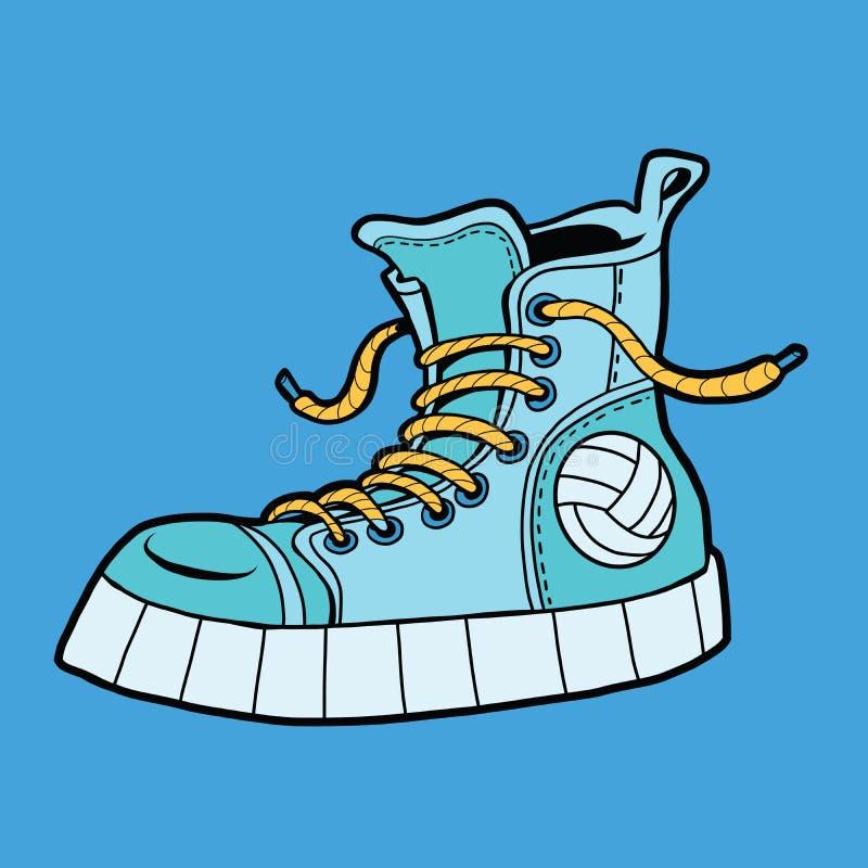 Sportów buty z piłką, sneakers royalty ilustracja