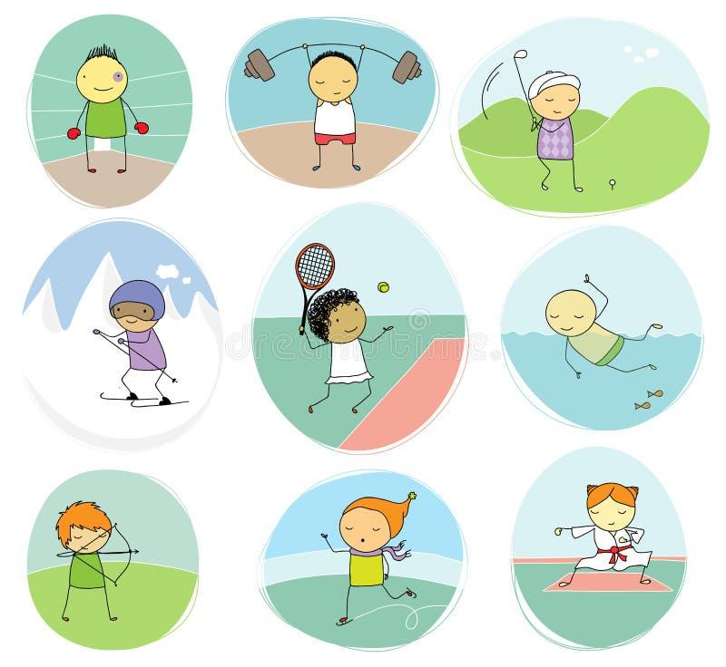 Sportów dzieciaków doodle kolekcja ilustracji