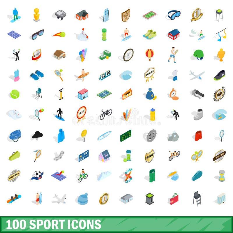 100 sportów ikon ustawiających, isometric 3d styl ilustracja wektor
