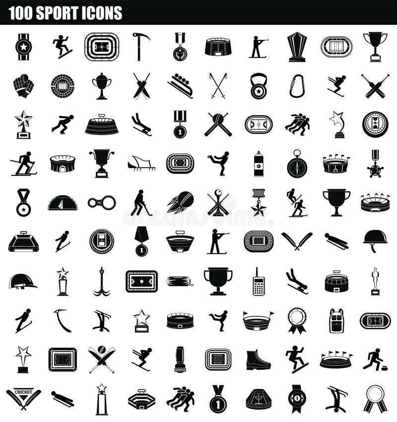 100 sportów ikony set, prosty styl ilustracji