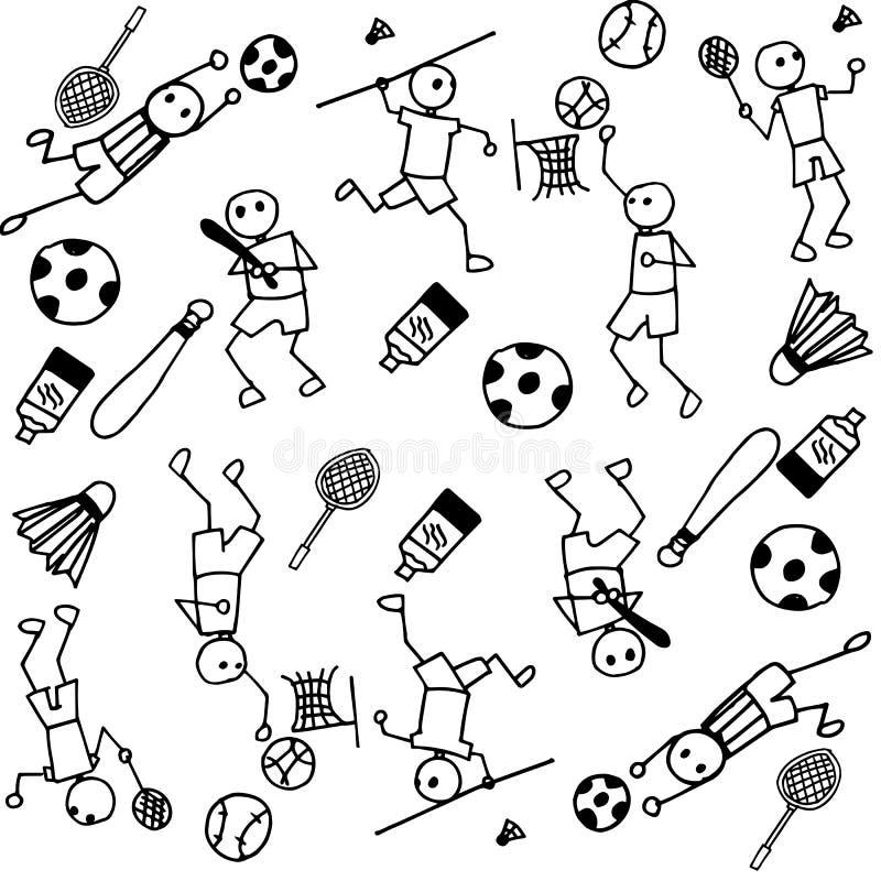 Sportów ludzie doodle ilustracja wektor
