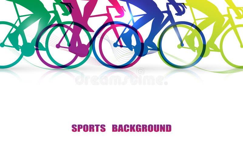 Sportów ludzie jedzie bicykle Zamyka W górę kolorowej nogi i roweru grafiki royalty ilustracja