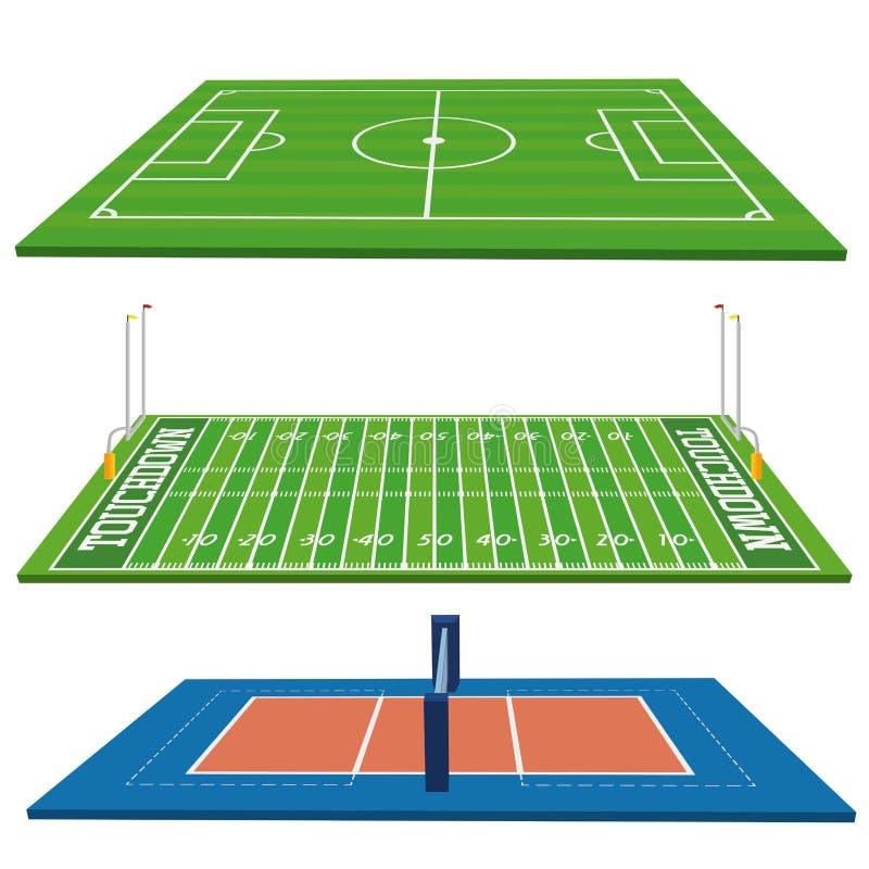 Sportów pola Ustawiający Odizolowywającymi Na Białym tle royalty ilustracja