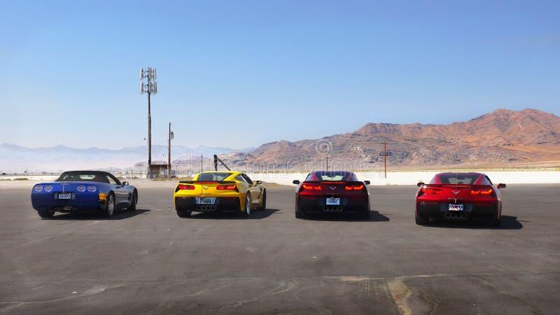 Sportów samochody, Bonneville soli mieszkań Międzynarodowy żużel, Utah obrazy royalty free