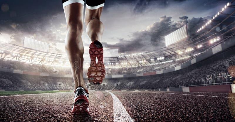 Sportów tła Stadium piłkarski i bieg ślad 3 d czynią obraz stock