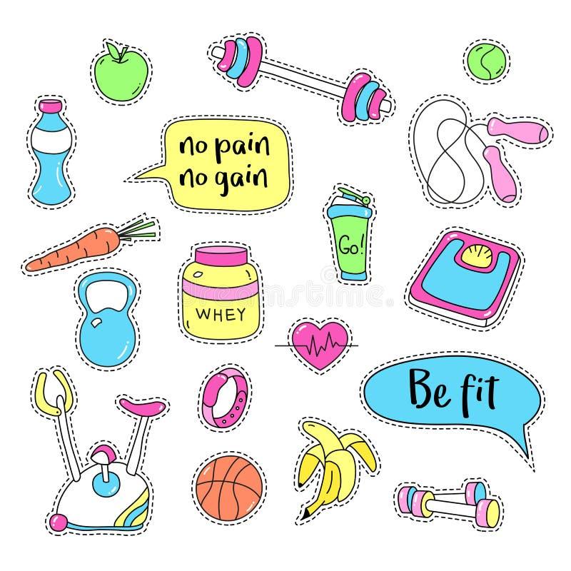 sportów ustaleni majchery Ręki rysować sprawności fizycznej łaty odznaki ilustracji