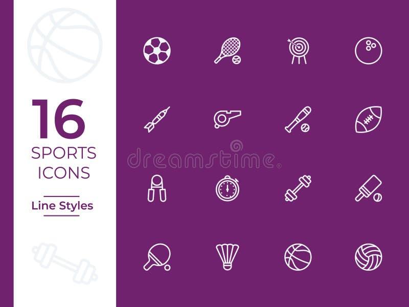 16 sportów wektoru ikona Nowożytny, prosty dla app, strony internetowej lub wiszącej ozdoby royalty ilustracja