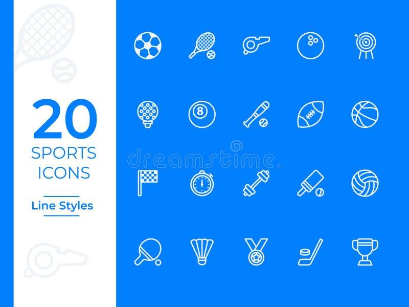 20 sportów wektoru ikona prostego konturu wektorowe ikony dla sieci lub wiszącej ozdoby royalty ilustracja