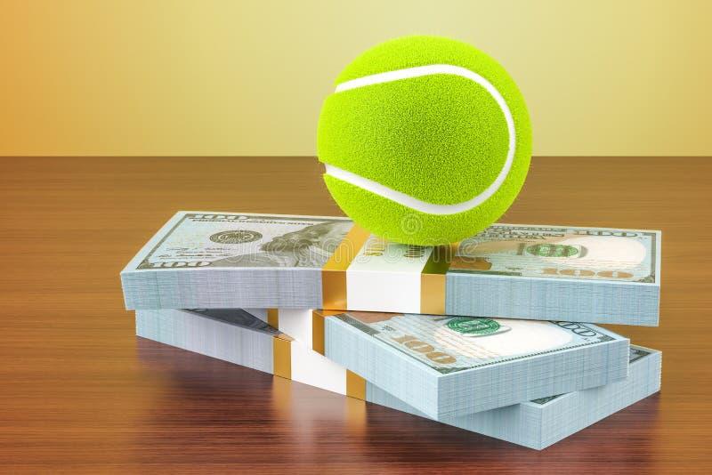 Sportów zakłady Pieniądze i tenisowa piłka na drewnianym stole, 3D odpłacamy się ilustracja wektor
