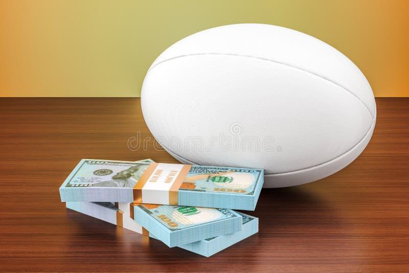 Sportów zakłady Rugby piłka z dolarem pakuje na drewnianym stole, 3D ilustracji
