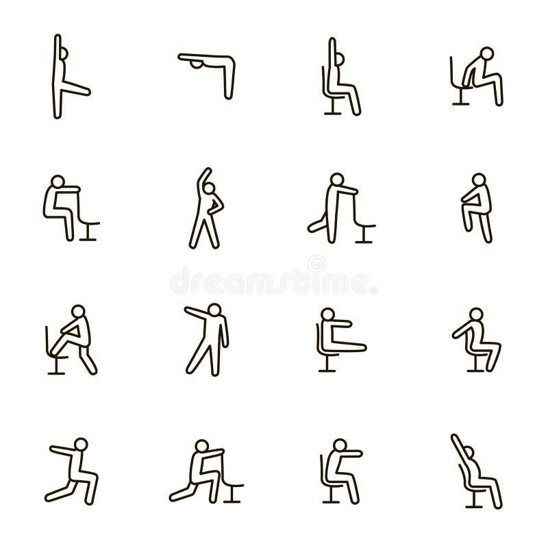 Sportövningar för kontorsteckensvart gör linjen symbolsuppsättning tunnare vektor royaltyfri illustrationer