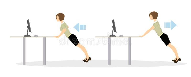 Sportübungen für Büro lizenzfreie abbildung