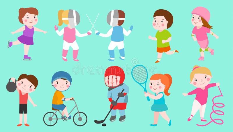 Sport żartuje charakter chłopiec i dziewczyna sportowów sztuki wektorowe gry żartują aktywność dzieci bawić się sportów różnorodn royalty ilustracja