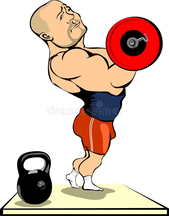 Sport. Vector illustration of man to lift weights royalty free illustration