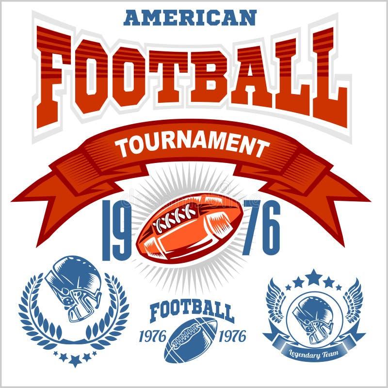 Sport-amerikanischer Fußball-Logo lizenzfreie abbildung