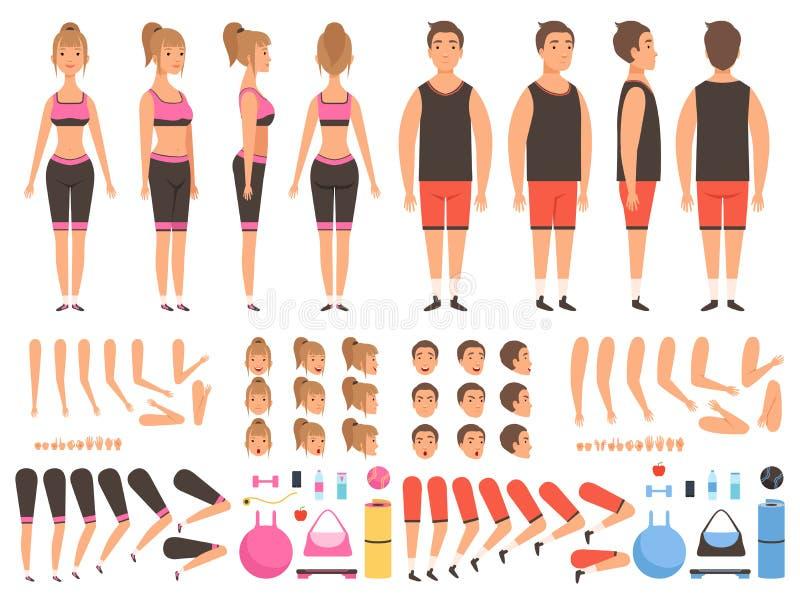 Sport animacji ludzie Sprawności fizycznej kobiety i samiec treningu maskotek części ciałych tworzenia wektorowy zestaw ilustracja wektor