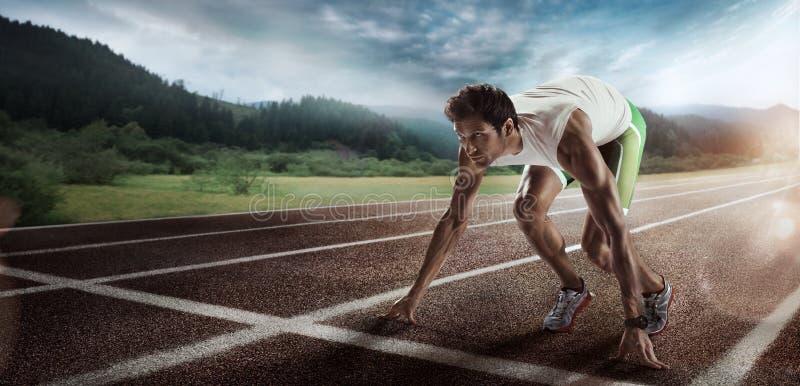 sport Anstellen des Läufers stockfoto