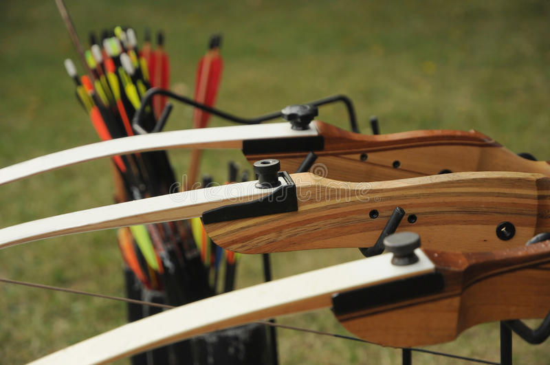 Sport archery. Bow and arrows used for sport archery stock photos