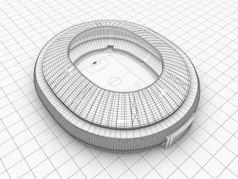 Sport arena. 3d ilustracja w wireframe widoku royalty ilustracja