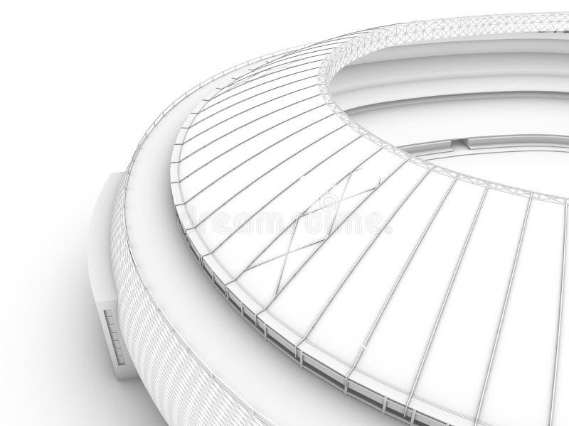 Sport arena. 3d ilustracja w wireframe widoku ilustracji