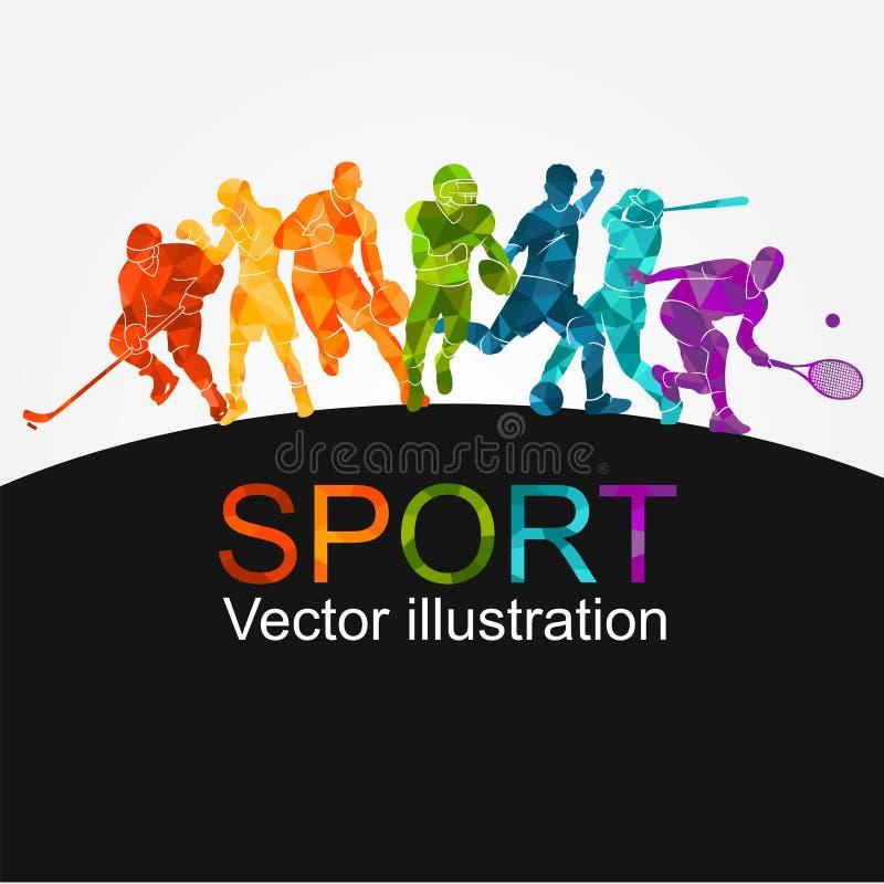 Sport, athlète, fond, hockey, lancement, action, activité, arène, sportive, boule, bannière, base-ball, basket-ball, bataille, af illustration de vecteur