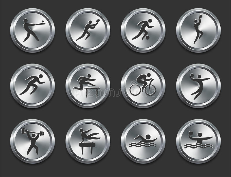 Sport Athletes Icons on Metal Internet Buttons royalty free illustration