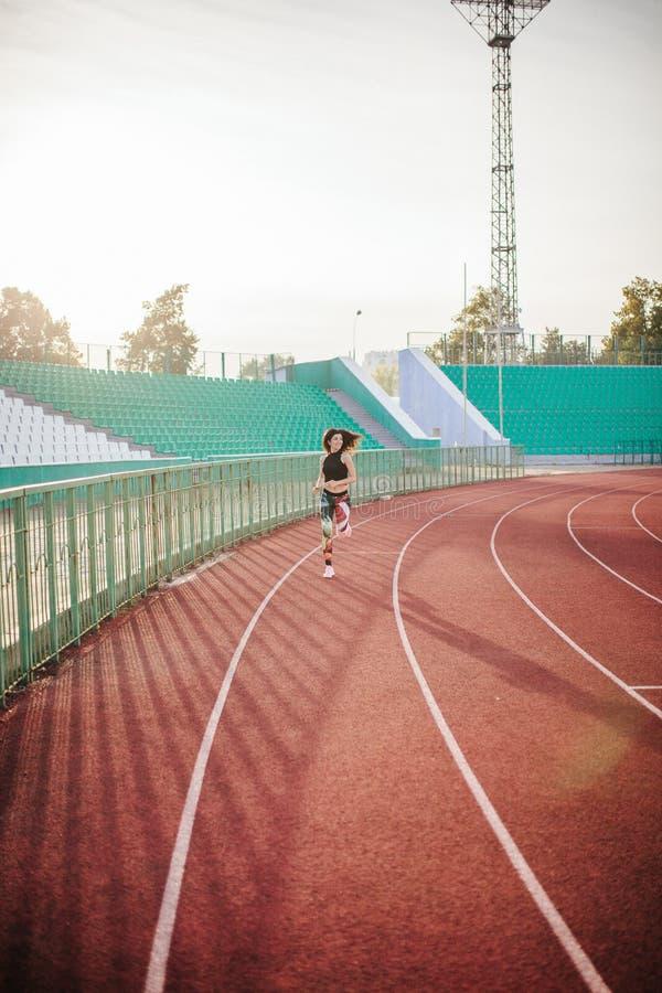 sport Athletische junge brunette Frau in den rosa Turnschuhen, in den Gamaschen und im Obertrum auf Laufbahnstadion bei Sonnenunt stockfotografie