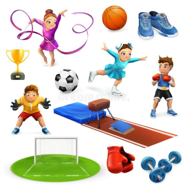 Sport, atlety i wyposażenie, ilustracja wektor