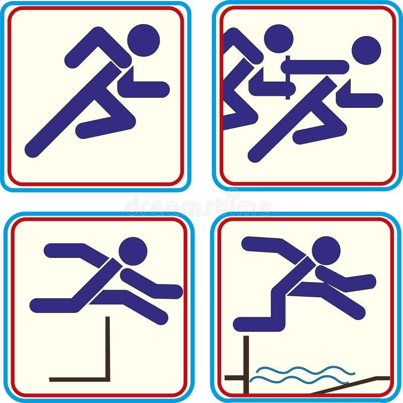 Sport atlety piktograma ikony ślad - pole royalty ilustracja