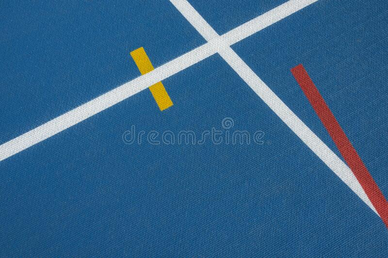 Sport background. Blue running track with white lines, yellow and red mark in sport stadium. Top view. Sport background. Blue running track with white lines stock photos