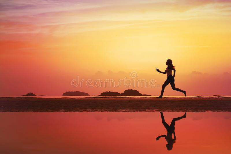 Sport background, silhouette of woman jogging royalty free stock photos