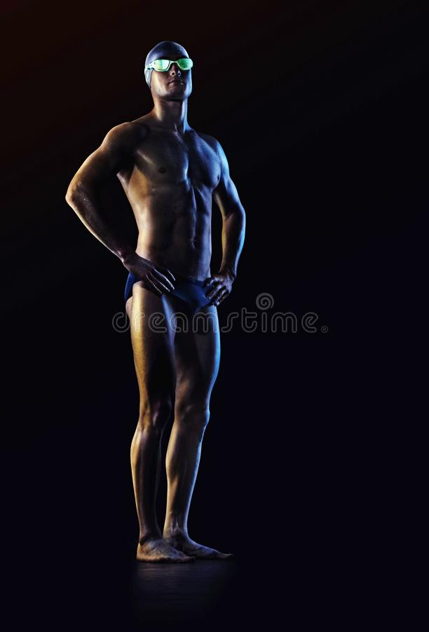 Sport background. Swimmer with glasses. stock photography