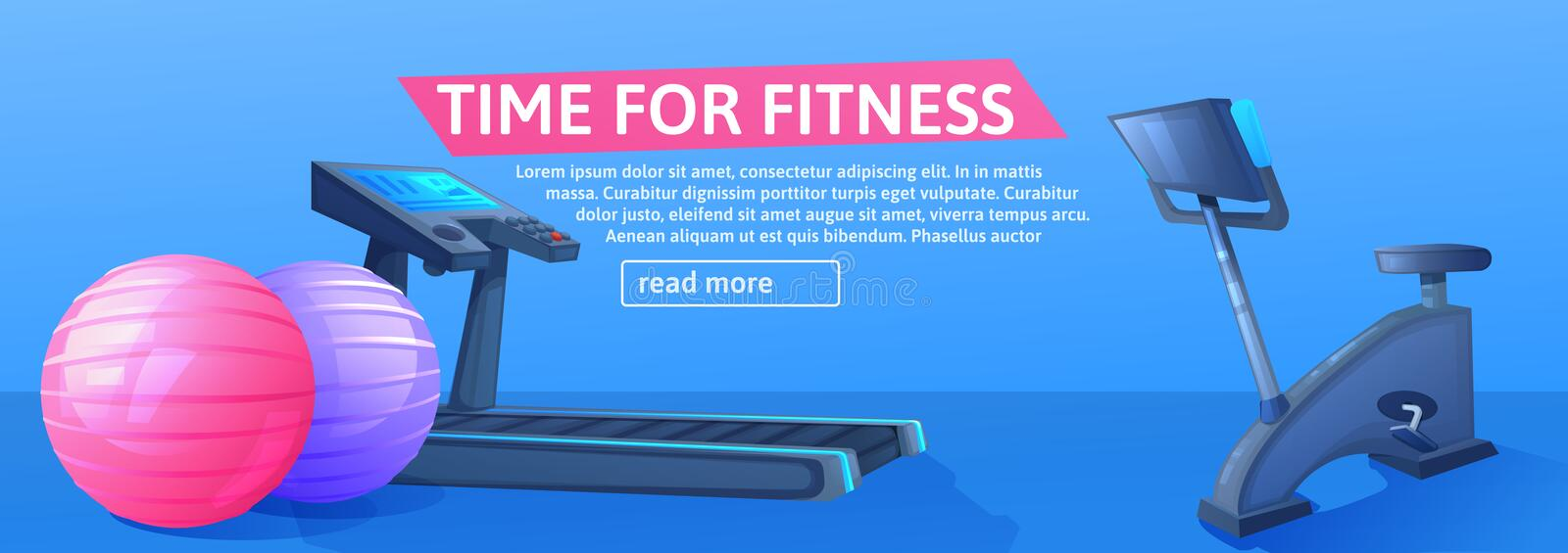 Sport background with treadmill for running and balls and byke for Bicycle training. Time fo fitness banner design. royalty free illustration
