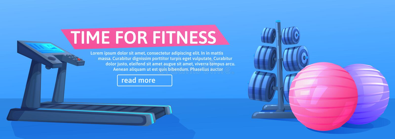 Sport background with treadmill for running and balls and. Time fo fitness banner design. Sport background with treadmill for running and balls. Time fo fitness vector illustration