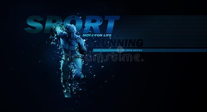 Sport backgrounds. Concept of a low poly running man. 3d render of the geometric runner in blue colors. royalty free illustration