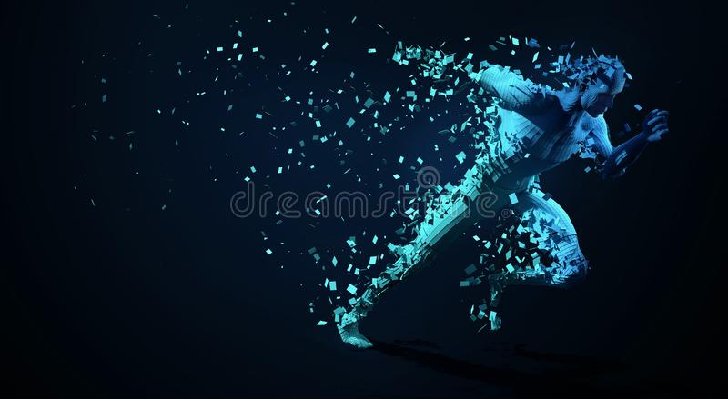 Sport backgrounds. Concept of a low poly running man.  Low polygonal sprinter. 3d render template brochures, flyers, presentations stock illustration