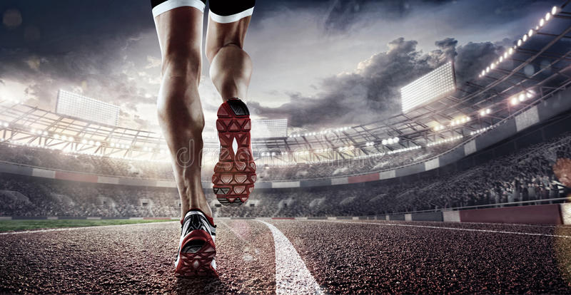 Sport Backgrounds. Soccer stadium and running track. 3d render. 3d render of the soccer stadium and running track with dramatick sky stock image