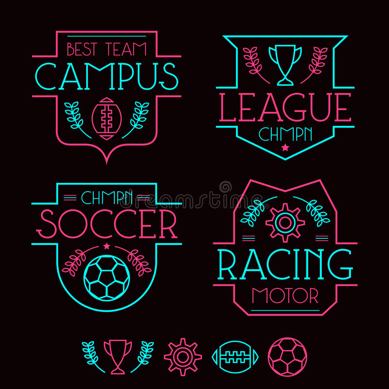Sport badges and icons. In thin line style. Graphic design for t-shirt. Neon colors print on a black background royalty free illustration