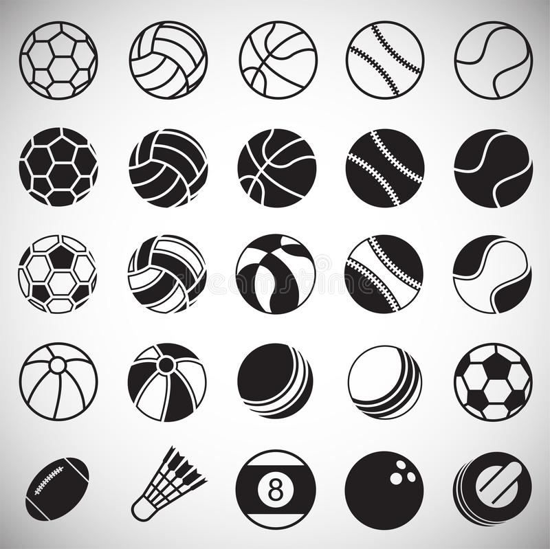 Sport ball icons set on white background for graphic and web design, Modern simple vector sign. Internet concept. Trendy symbol stock illustration